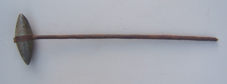 A FINE INDIAN WAR PERIOD PLAINS INDIAN (SIOUX) STONE-HEAD DEATH-HAMMER WAR CLUB, ca. 1880 view 1