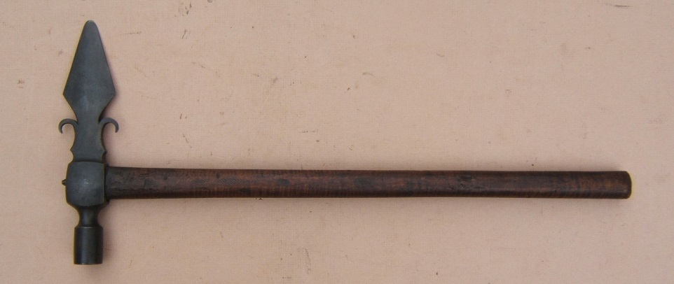 "A VERY FINE ""FRENCH"" SPONTOON-TYPE PIPE TOMAHAWK, ca. 1770 view 2"
